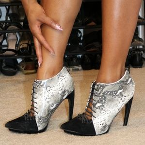 Shoes - Black and snake print heels